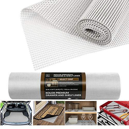 Besmall Antirutschmatte Mehrzweck, Anti Rutsch Teppichunterlage Schubladenmatte Teppichstopper Rutschschutz Unterlage für Teppich Schubladen Auto Küche, Zuschneidbar 50x900cm (Weiß)