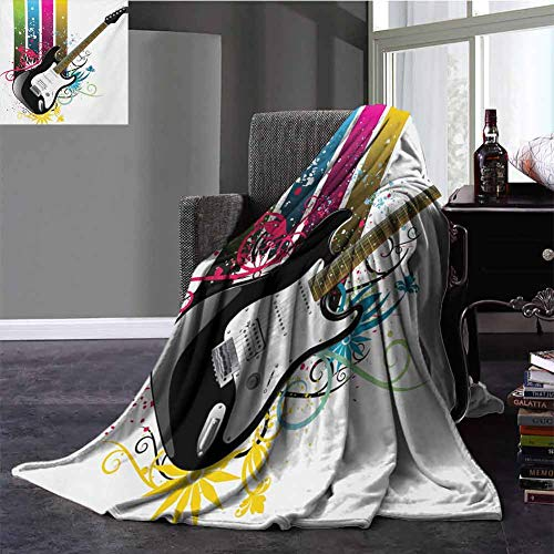Fleece Blanket Throw Size,Guitar Travel Blanket Bass Guitar On Colorful Vertical Stripes with Floral Natural Artistic Ornaments All Season Use Multicolor