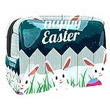 Borsa da trucco portatile con cerniera da viaggio borsa da toilette per le donne pratico sacchetto cosmetico felice Pasqua coniglietto uovo carino conigli