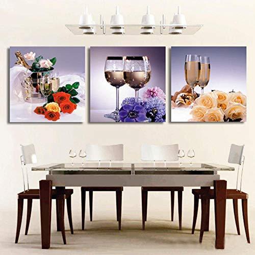 EJCNCL Bilder Leinwandbild 3 Panels Mit Rahmen 50 x 70cm x 3 Stück Weinglas HD-Druck Hochwertige Moderne Kunst Wohnzimmer Schlafzimmer Restaurant Dekoration