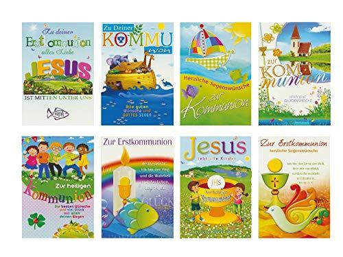 50 Glückwunschkarten zur Kommunion Sonne Taube Motive Grußkarten 12-2250