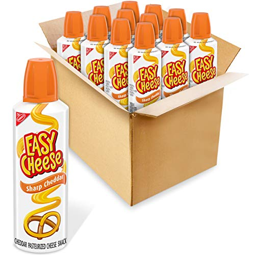 Easy Cheese Sharp Cheddar Cheese Snack 12  8 oz Cans