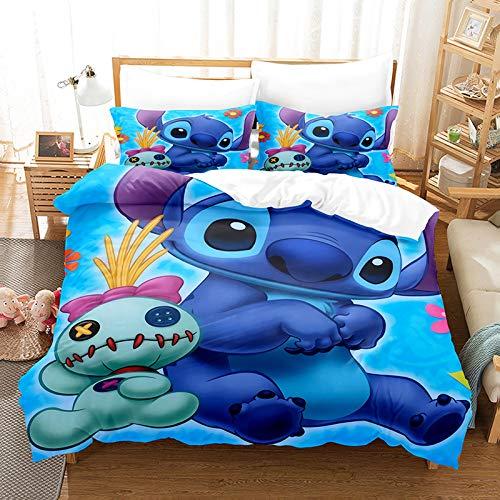 Lilo & Stitch - Juego de ropa de cama para niños, cama individual, doble, king y funda de edredón de dibujos animados Lilo para ropa de cama de 2/3 piezas para niños y niñas (A10, doble 200 x 200 cm)