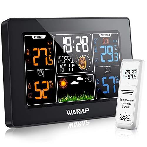 Wanap Weather Station Wetterstation Funk mit Außensensor, Digitales Wetterstation Innen Außen RCC Funkwetterstation Multifunktionale Wettervorhersage Thermometer Hygrometer Barometer, Funkuhr
