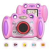 campark, fotocamera digitale per bambini da 4 a 8 anni, selfie anteriore e posteriore, per studenti, con schermo da 5 cm, colore: rosa