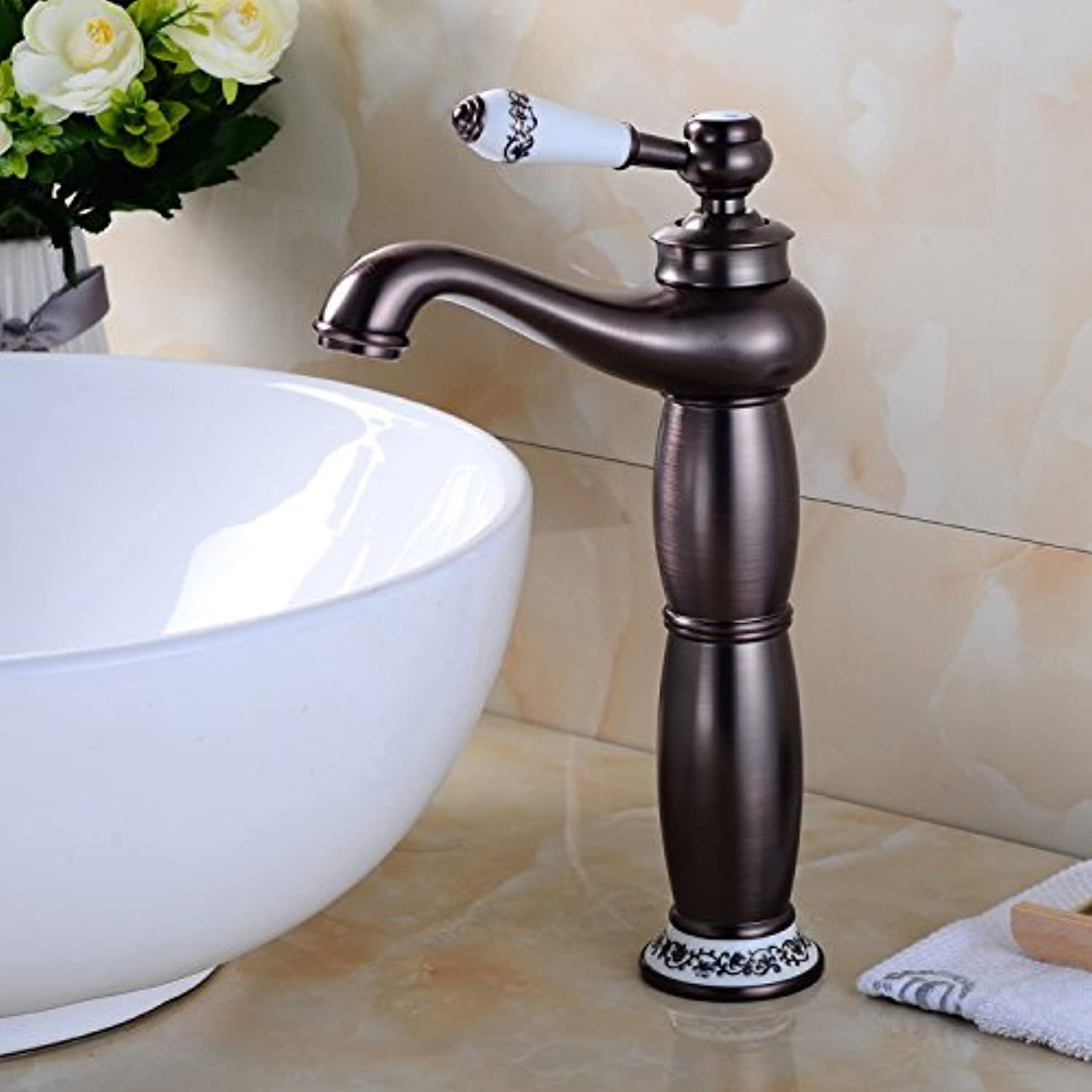 Hlluya Professional Sink Mixer Tap Kitchen Faucet The Copper Black antique bathroom faucet basin cold water faucet stainless steel faucet, D.