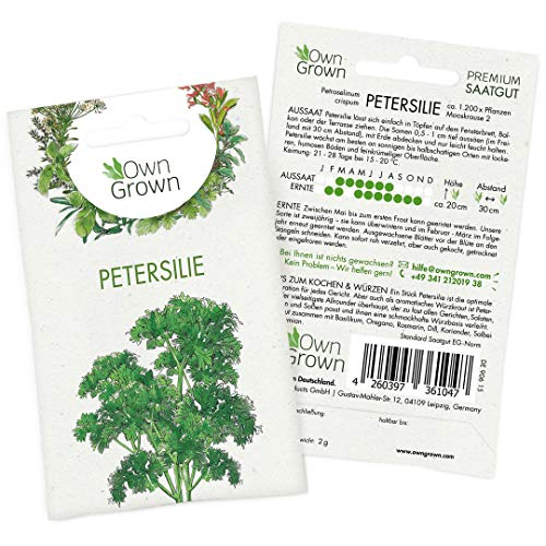 OwnGrown Premium Petersilie Samen (Petroselinum crispum), Petersiliesamen mehrjährig, Saatgut für rund 1200 Petersilie Pflanzen
