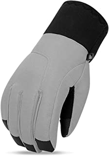 Automotech Ski Gloves Ladies Winter Warm Riding Windproof Waterproof Cold Touch Screen Thick Cotton Hiking Outdoor Motorcycle (Color : Gray-XL)