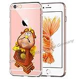 Coque LA Belle et la bête Comic Bande dessinée Compatible pour iPhone 6 / 6sHorloge de parquet Coque de Protection Transparent Smartphone M8