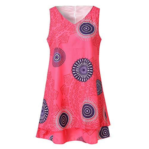 QingJiu Damen Plus Size Print Midi Kleid Lose Shift Sleeveless Tank Weste Sun Dress (XXX-Large, Hot Pink)