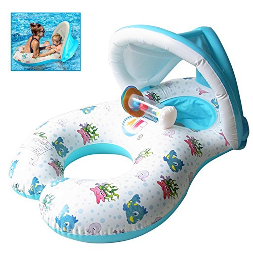 Flotador de Piscina para bebé,Flotadores Hinchables Para dos personas (Padres e hijos),asiento Flotante para bebé de Seguridad,Piscina hinchable retráctil y extraíble