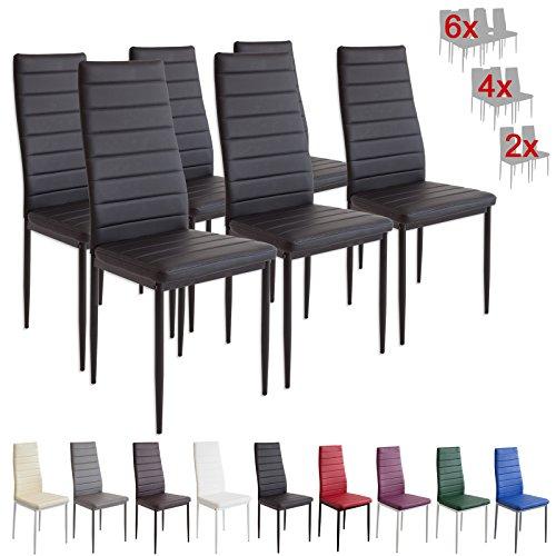 Albatros 2698 Milano Set de 6 sillas de Comedor, Negro
