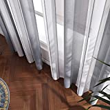 MIULEE Voile Vorhang Nadelstreifen Gardine aus Voile mit Ösen Schlaufenschal Ösenschals Transparent Fensterschal Wohnzimmer Schlafzimmer 2er Set 140x225cm Weiß + Grau - 6