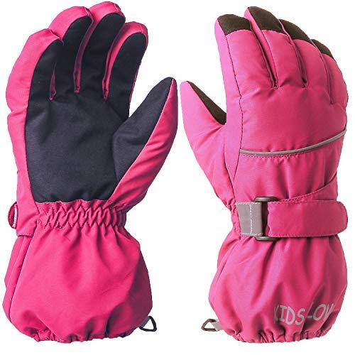 Ski Handschuhe für Kinder - wasserdichte und Winddichte Winterhandschuhe Warm Sporthandschuhe Snowboardhandschuhe für Outdoor-Sport, Fahrradhandschuhe Warme Handschuhe in Winter Rose M