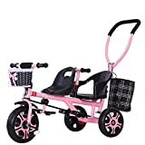 D-JIU Tricycle Double Poussette Double pour Enfants avec Poussette arrière Peut s'asseoir et s'allonger Peut Monter à Double Tricycle Jumeaux vélo bébé 1-3-7 Ans bébé,Pink