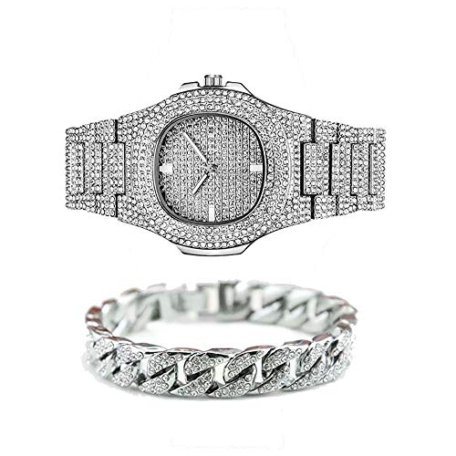 Cubic Zirconia Hip Hop Bracelet, Hip Hop Full Diamond Watch for Men, Jewelry Set (1 PCS Watch+1 PCS Bracelet)