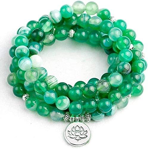 Collar para Mujer Hombre Collar de Moda Cuentas de Piedra de ónix Verde Oscuro con Lotus Buddha Charm Colgante Pulsera Boho 108 Collar de Mujer JewelryCollar Colgante Niñas Niños Regalo