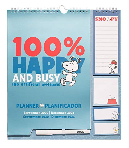 ERIK - Planificador mensual familiar de pared 2020/2021 Snoopy (30x34 cm)