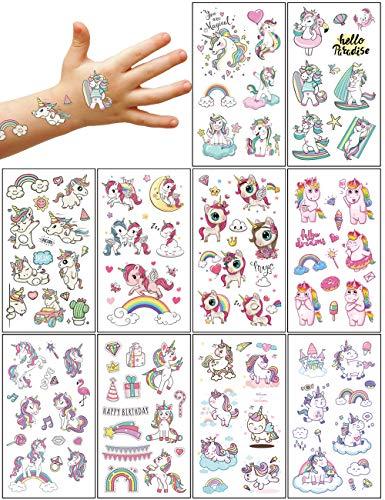 Aoligei 20 Fogli Tatuaggi Temporanei Bambini,Tema Unicorno Tatuaggi per Bambini Delicato Sulla Pelle,Impermeabile Tatuaggi Finti Per Ragazze Ragazzi, Tatuaggio Temporaneo per Feste di Compleanno