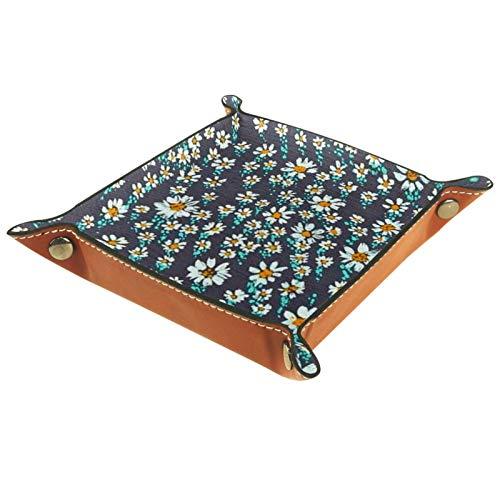 Caja de almacenamiento pequeña, bandeja de valet para hombre,Margarita flor pastoral ,Organizador de cuero para llaves de caja de monedas