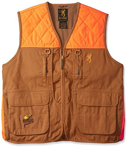 Browning Pheasants Forever Vest, Khaki/Blaze, Large