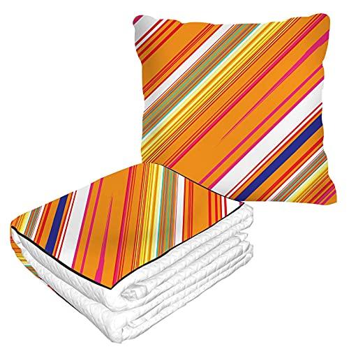 Manta de viaje de rayas inclinadas en bolsa suave, funda de almohadas, con forma de matriz brillante, geométrica, cálida, cojín para casa, coche, oficina