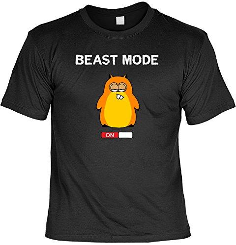 T-Shirt - Lustiger Hamster - Beast Mode ON - lustiges Sprüche Shirt für Spaßvögel mit Humor - Geschenk Set mit Funshirt und Minishirt