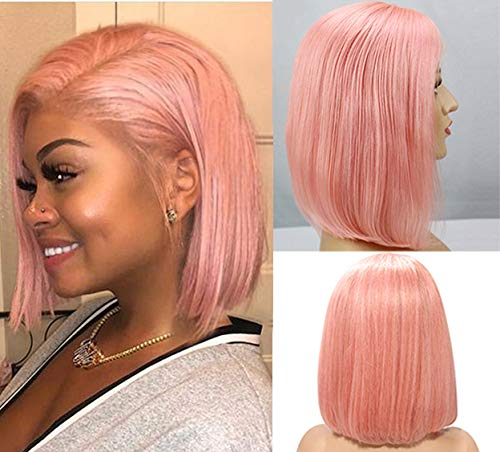 Pink Human Hair Bob Wigs 150% Density Glueless 8 Inch Short Bob Wig 13x1x4 Lace Front Brazilian Straight Middle Part Bob Wig for Women Bleached Knots with Baby Hair Pre Plucked T Part Lace Bob Wig