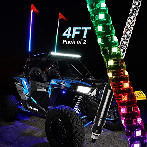 2Pcs 4ft LED Whip Lights with Flag Pole RF Remote Control 360Spiral Lighted Twisted Chasing Color Antenna LED Whips for UTV ATV Polaris Off Road Truck RZR Buggy Dune
