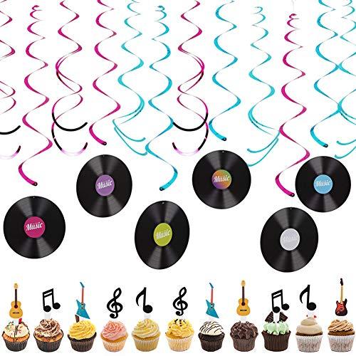 SZWL Musica Decoraciones Fiesta,Discos Colgando remolinos Guirnalda de Techo serpentinas,Tarjeta de Magdalena de Notas Musicales, Topper de Tarta de Guitarra(24pcs)