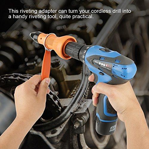 Klinknagelbevestigingsadapter, klinknagelmoer Gun-adapter Steekmoer Klinkgereedschap met sleutel en mondstukken voor draadloze boormachine, voor mondstukgrootte: 2,4 mm, 3,2 mm, 4 mm, 4,8 mm
