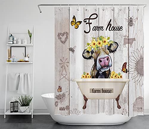 LB Lustige Kuh Duschvorhang 150x200cm Sonnenblume & Schmetterling Antischimmel Wasserdicht Badezimmer Gardinen, Vintage Holz Extra Lange Polyester Stoff Bad Vorhang mit Haken