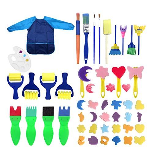 Tomaibaby Kinderen Verfsponzen Penselen Set Met Lange Mouw Waterdichte Schort Voor Kinderen Diy Art Supplies