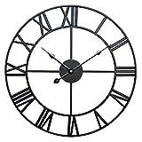 AMYZ Sala de Estar Café Hotel Oficina Decoración para el hogar Regalo - Hierro Forjado de Metal Reloj de Pared Retro Romano Reloj Simple Decoración de la Sala de Estar-Negro_60cm