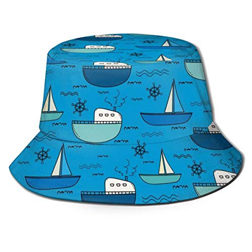 Yearinspace Barco de pesca patrón plano superior transpirable cubo sombreros viaje pescador sombrero unisex playa sol sombrero
