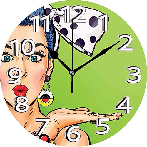 XXSCXXSC Reloj de Pared Labios Estilo cómic Pop Art Retro Chica con Pelo Azul Lunares Lazo para el Pelo soplando un Beso Reloj silencioso Multicolor