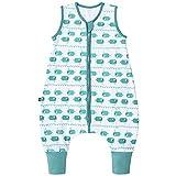 Premium Baby Schlafsack mit Füßen Sommer, Bequem & Atmungsaktiv, 100% Bio-Baumwolle, Oeko-TEX Zertifiziert, Flauschig, Bewegungsfreiheit, 1.0 TOG von emma & noah (Wal Blau, 90 cm)