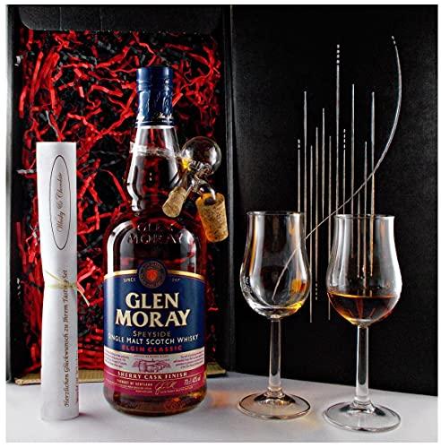Geschenk Glen Moray sherry cask Single Malt Whisky + Glaskugelportionierer + 2 Bugatti Gläser