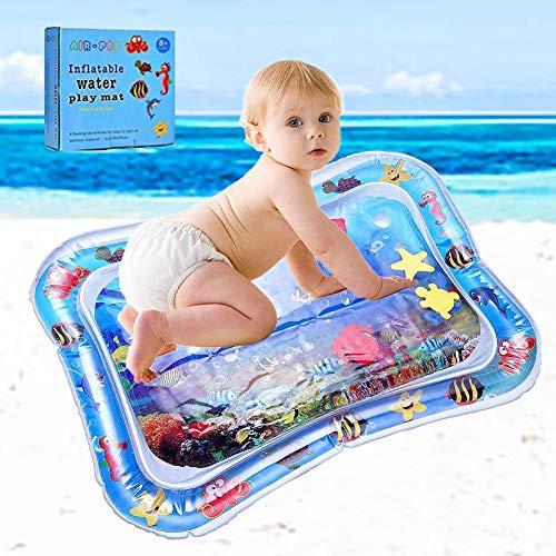 Arlando Wassermatte Baby, aufblasbar Wasser Spielmatte 66X50cm BPA-frei Wasserkissen Wasserfüllung Wasserpark Sommer Geschenk für Baby Kleinkinder Säuglinge Neugeborene 3 6 9 Monate