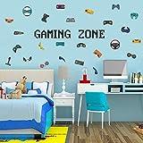 Wandtattoo Gamer | Wandsticker für Junge Schlafzimmer | Gamer mit Gaming Zone Wand Aufkleber, Spieler mit Controller - Aufkleber Wandtattoo, für Schlafzimmer Home Playroom Hintergrund Deko