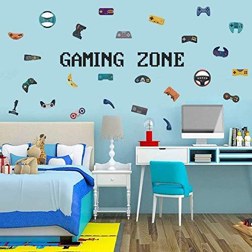 Wandtattoo Gamer   Wandsticker für Junge Schlafzimmer,Gaming Zone Wand Aufkleber, Spieler mit Controller,Aufkleber Wandtattoo für Schlafzimmer Home Playroom Deko,Videospiel Wandaufkleber Kinderzimmer