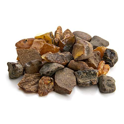 Amber Culture Rohbernsteine, baltisches Kunstharz, zufällige Auswahl (Size 3 - 4 gr | Amount: 50 gr) gold