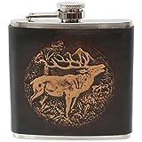 Caza de petaca Tracht Petaca de piel ciervo Wild Cazadores Petaca bolsa botella botella acero inoxidable con recubrimiento de piel repujada marrón mano trabajo Pocket Flask Bottle