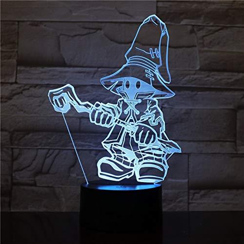 Juego FINAL FANTASY IX Night Light LED decoración Mesita de noche Lámpara Fiesta de cumpleaños Festival Regalo para niños VIVI Ornitier 3D Mesita de noche Lámpara