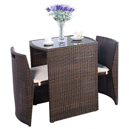 DREAMADE Polyrattan Ratten Sitzgruppe 3 TLG, 2 Stühle & 1 Glasstisch Rattanmöbel, Sitzgarnitur zusammenschiebbar Gartengarnitur, Balkon Set mit Sitzkissen für Indoor und Outdoor (Modell 2)
