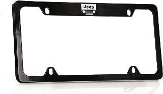Jeep Logo License Plate Frame Holder (4 Hole/Brass, Black/Top)