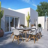 Brampton Patio Breaux 9-Piece Outdoor Rectangular Dining Table Set   Teak Finish   Ideal for Patio and Indoors