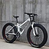 GASLIKE Fat Tire Mountain Bike para Adolescentes de Hombres y Mujeres Adultos, Marco de Acero de Alto Carbono, suspensión Doble de Cola Suave, Freno de Disco mecánico,Blanco,26 Inch 21 Speed
