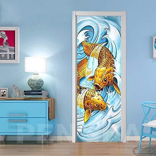 JCMTE 3D Türaufkleber Koi Fisch Abstrakt 95X215Cm Diy Abnehmbare Wasserdichte Wandbild Selbstklebende Wandbilder Tapeten Für Innentüren Schlafzimmer Tür Home Decor Fresco