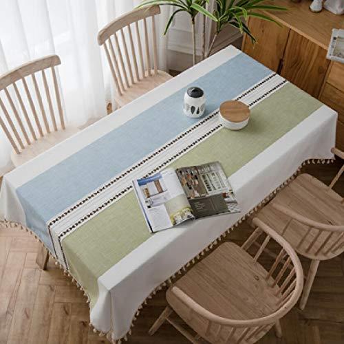 shiyueNB CANIRICA tafel cover unieke streep design kwast hanger tafelkleed leven waterdicht linnen tafelkleed huisdecoratie tafelkleed 140x220cm